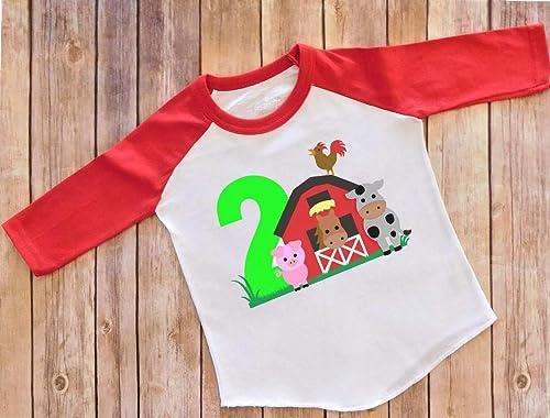 Barnyard Animals Farm Toddler Shirt 2 Year Old Farm Theme Birthday Party Shirt 2T