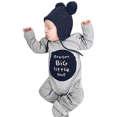 87ab2f5231e92 LuckyGirls Nouveau-né Infantile Bébé Garçon Fille À Manches Longues Lettre  Barboteuse Combinaisons Vêtements