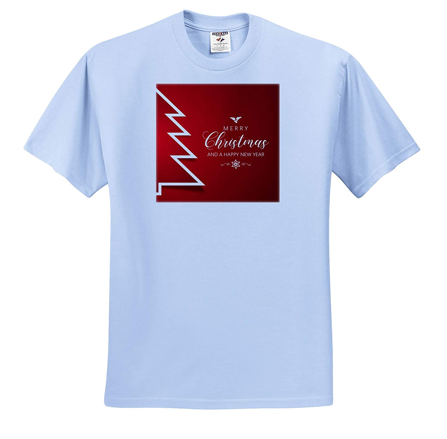 3dRose Sven Herkenrath Christmas Red Background with Merry Christmas and Happy New Year T-Shirts