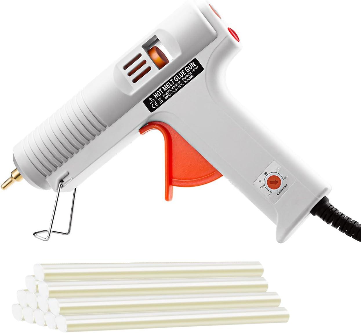 Pistola de Silicona Caliente 100W Manualidades con 12 Psc Barra de Silicona, Perfecta para Pequeña Artesanía de Bricolaje, Reparaciones Caseras Rápido y la Industria