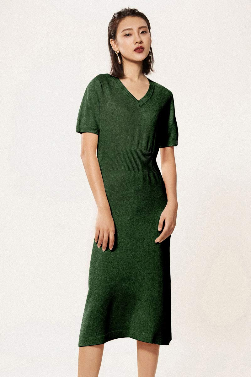 3e43dbae7ec RanRui Midi Dress Womens Knitted V Neck Cashmere Short Sleeve Elegant Sweater  Dress (M