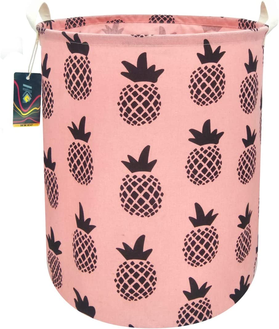 "HKEC 19.7""Waterproof Foldable Storage Bin, Dirty Clothes Laundry Basket, Canvas Organizer Basket for Laundry Hamper, Toy Bins, Gift Baskets, Bedroom, Clothes, Baby Hamper (Pink/Black Pineapple)"