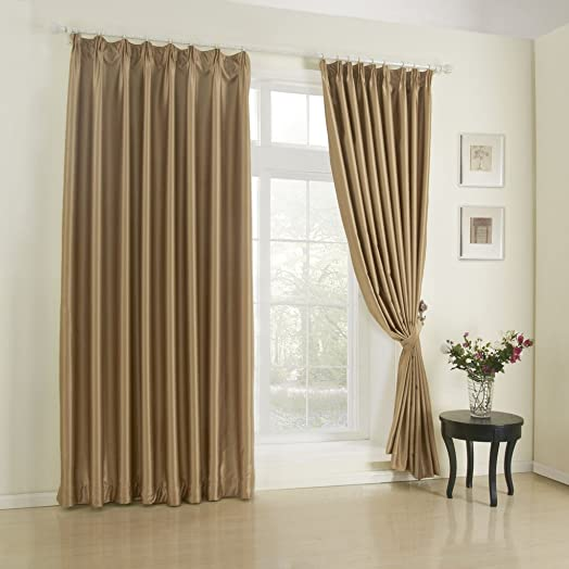 IYUEGO Solid Light Brown Classic Blackout Curtain Double Pleated Curtain Drapery