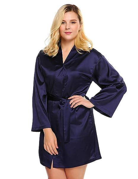 Vestido De Bata De Satén para Mujer De Satén Clásico De Túnica De Mangas Largas para Hombres Y Mujeres Mujeres: Amazon.es: Ropa y accesorios
