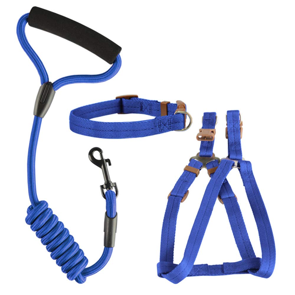 bluee LargeDog Safety Vest Harness, Pet Dog Adjustable Harness with Walking Lead Leash Chest Strap Durable Comfortable
