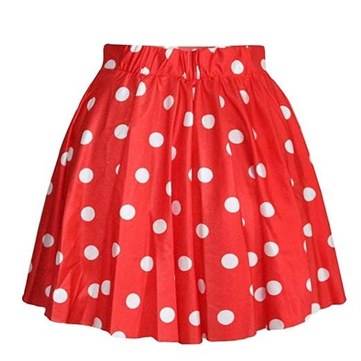 32ebb8b28b2d5 AvaCostume Women's High Waisted Candy Colors Polka Dot Skirt, Red ...