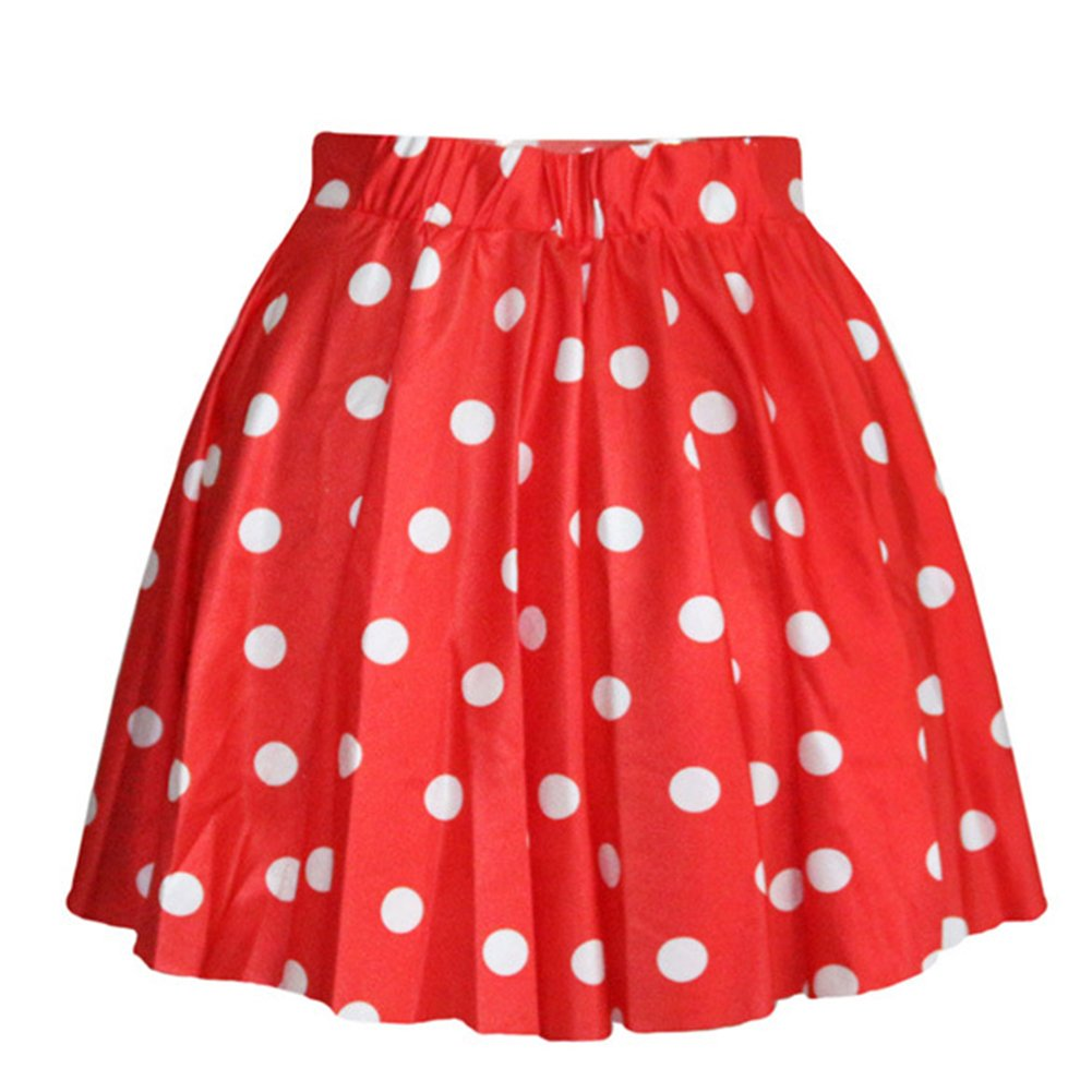 AvaCostume Women's High Waisted Candy Colors Polka Dot Skirt, Red,One Size