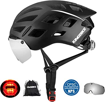 Amazon.com: KINGBIKE DOT - Casco de bicicleta con gafas de ...