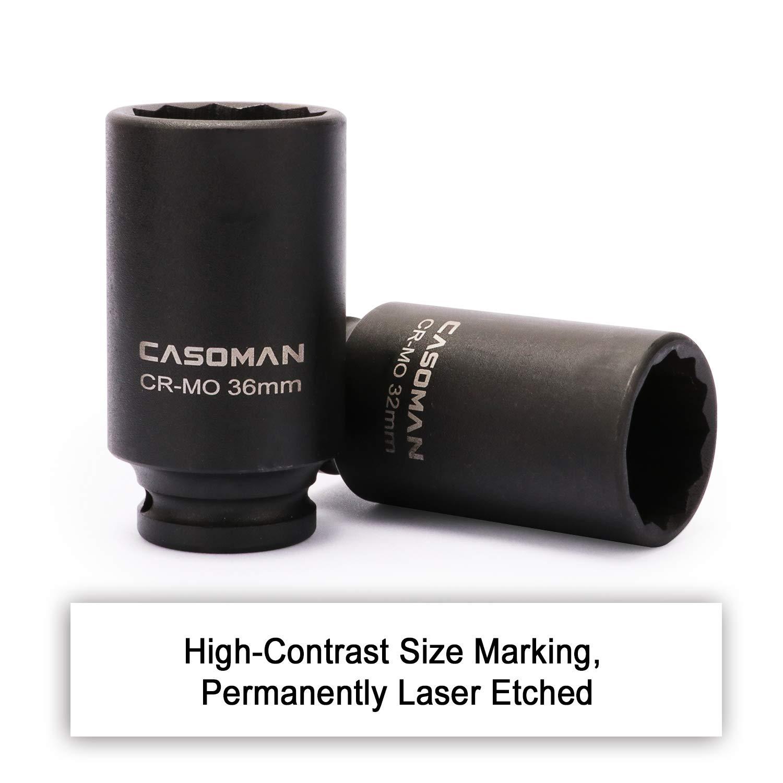CR-MO Metric 29,30 32 34 35,36,38,39mm 8 Piece 1//2 Heavy Duty Impact Socket Set CASOMAN 1//2-Inch Drive Deep Spindle Axle Nut Impact Socket Set,12 Point