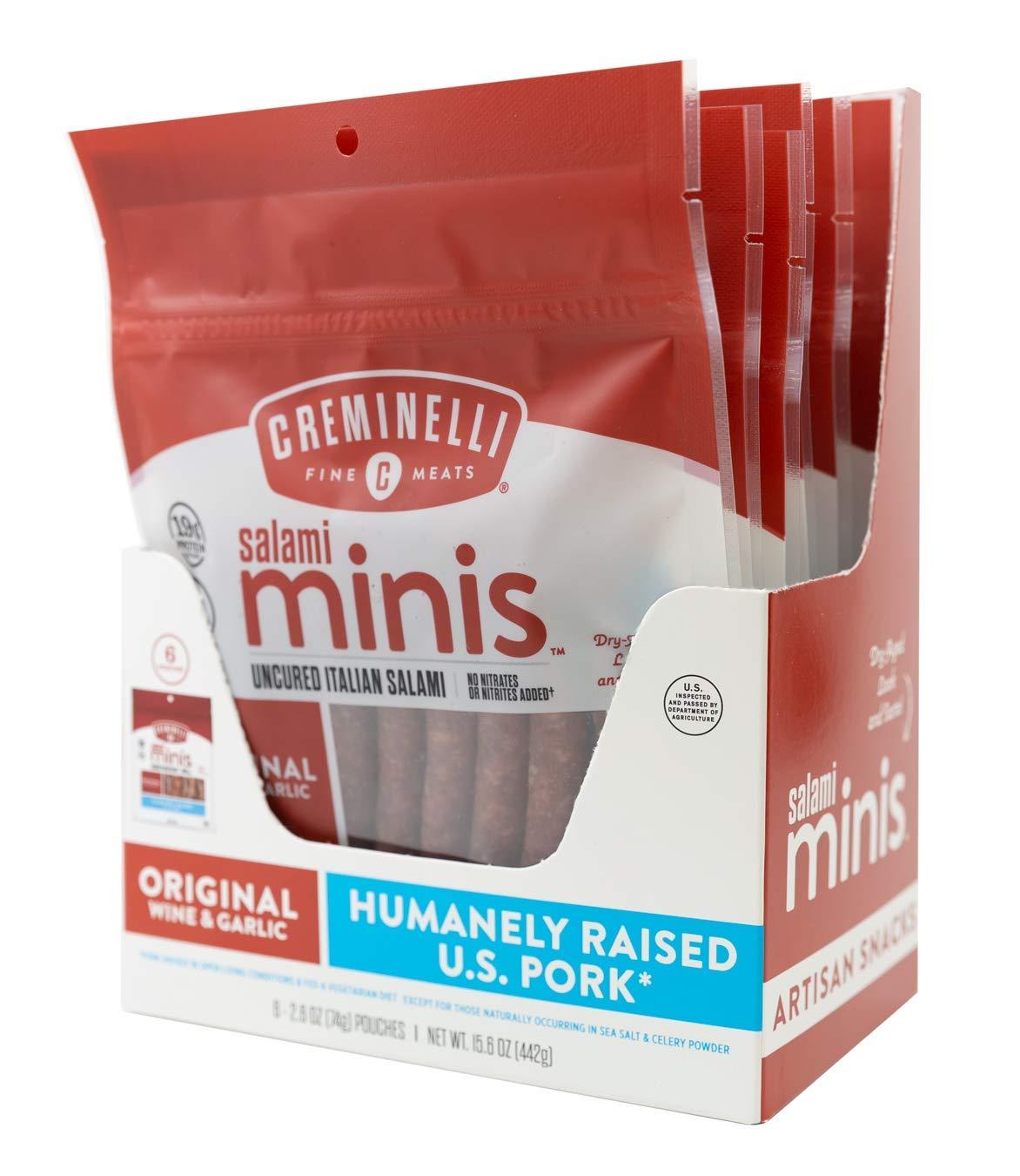 Creminelli Original Salami Mini Snacks, Humanely-Raised U.S. Pork, Keto & Paleo Friendly, 19g of Protein - Sugar Free, Gluten Free, No Added Nitrates or Nitrites (Original, 2.6oz 6 Pack)
