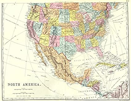 Map Of America And Caribbean.Amazon Com Usa Central America Caribbean North America South Sheet