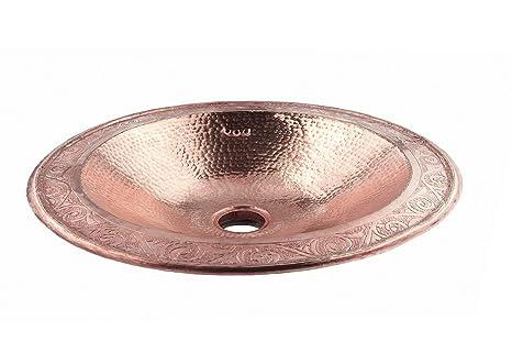 lavabo de fregadero o cuarto de bao de cobre rojo ovalado grande hecho a mano marroqu