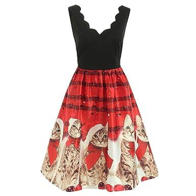 pas cher pour réduction 49bde 2070b ZYUEER Robes Noel Femme Dress Noel Retro Chat Vintage sans ...