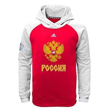 f6018ab97 Adidas Russia Hockey Youth World Cup of Hockey Pullover Climawarn Hoodie  Sweatshirt (Youth Small (