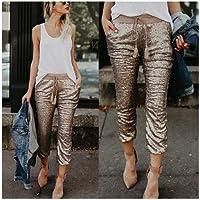 XuBa Women High Waist Skinny Pants Sequin Glitter Leggings Trousers Gold Casual Pants