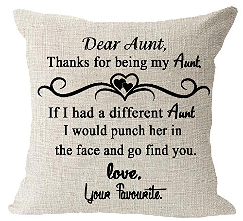 Aunt Throw Pillow - Aunt gift thank for be my Aunt quote Cotton Linen Square Throw Waist Pillow Case Decorative Cushion Cover Pillowcase Sofa 18