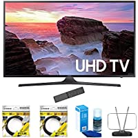 Samsung 55 4K Ultra HD Smart LED TV 2017 Model (UN55MU6300FXZA) with 2x 6ft High Speed HDMI Cable Black, Universal Screen Cleaner for LED TVs & Durable HDTV and FM Antenna