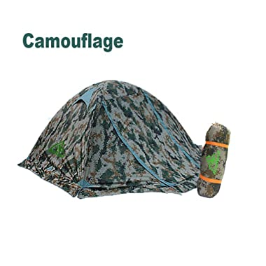 RioRand Double Layer 2 Person 4 Season Aluminum Rod Outdoor Camping Tent Topwind 2 Plus with Snow Skirt (Camouflage)