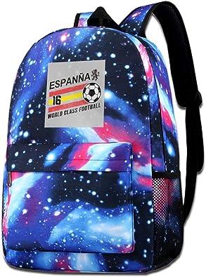 Galaxy - Bolsa de hombro estampada Euro 2016 Fútbol España Bola Gris Moda Casual Star Sky Mochila para niños y niñas: Amazon.es: Zapatos y complementos