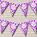 Cow Print Animal Purple White Personalized Hen Do Night Party Bunting Banner