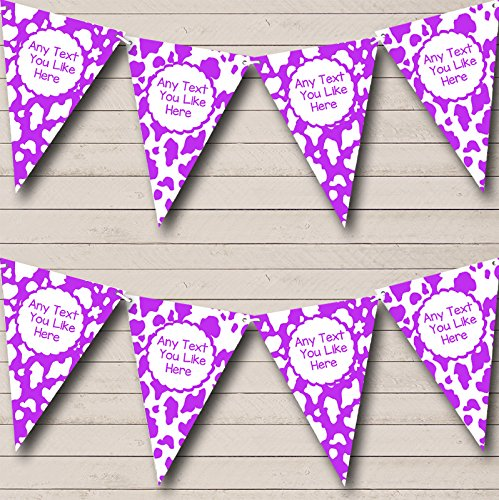 Cow Print Animal Happy Birthday Purple White Birthday Party Bunting Banner by The Card Zoo