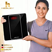 HESLEY Black Weighing Scale with Step-on Technology, 180 kgs