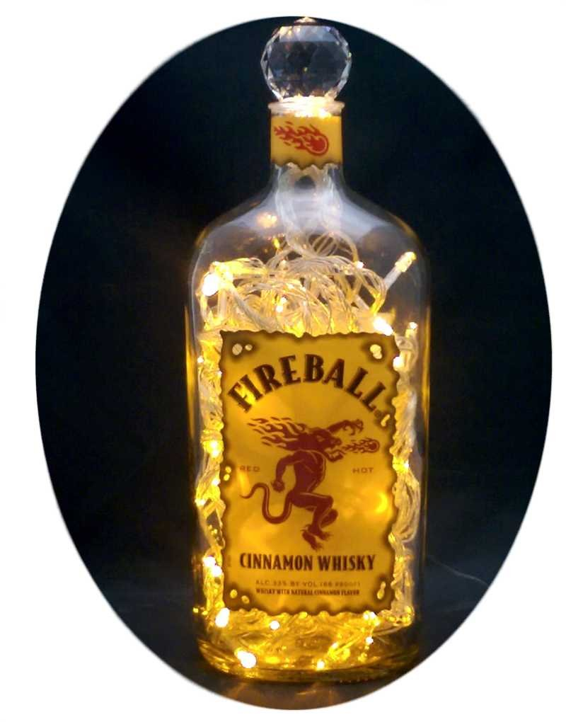 Upcycled Fireball Whisky Mood Therapy Liquor Bottle Light w/100 Yellow LED's Topped Off with an Asfour 30% Leaded Clear Crystal Prism Ball