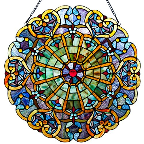 Victorian Style Stained Glass Panel: 23 Inch High Webbed Heart Decorative Window Hanging - Large Round Tiffany Style Blue, Green, Yellow & Red Framed Hangings - Ornament for the Wall or Windows
