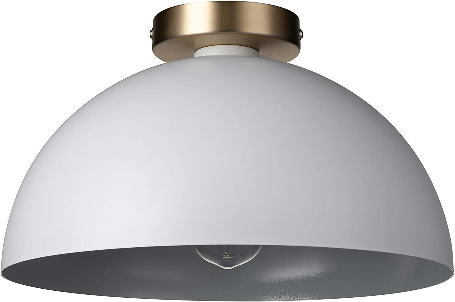 """Amazon Brand – Rivet Single-Light Flush-Mount Ceiling Light with Metal Shade, 7""""H, White and Brass"""