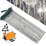 LEDJump 20 Inches/50cm 720 Lights Snowfall 16FT Wire Extension Waterproof Transformer LED Lights Outdoor Double Sided, Set of 12 Meteor Shower Rain Drop Tree Decor Icicle Landscape (Snow White