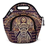 LunchFox Boho Style Elephant Print Neoprene Lunch Bag/Tote - The Tujunga