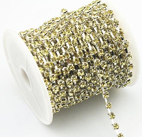 Light Yellow Rhinestones - AEAOA 5 Yard 4mm Light Yellow Crystal Silver Plated Rhinestone Chain Trims Cup Chain Sewing Wedding Dress Cake Decoration