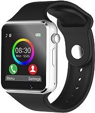 FRALUGIO Smartwatch Iwatch Reloj Celular A1 Slot Micro Sim Micro SD Compatible Android E iOS Desbloqueado Negro