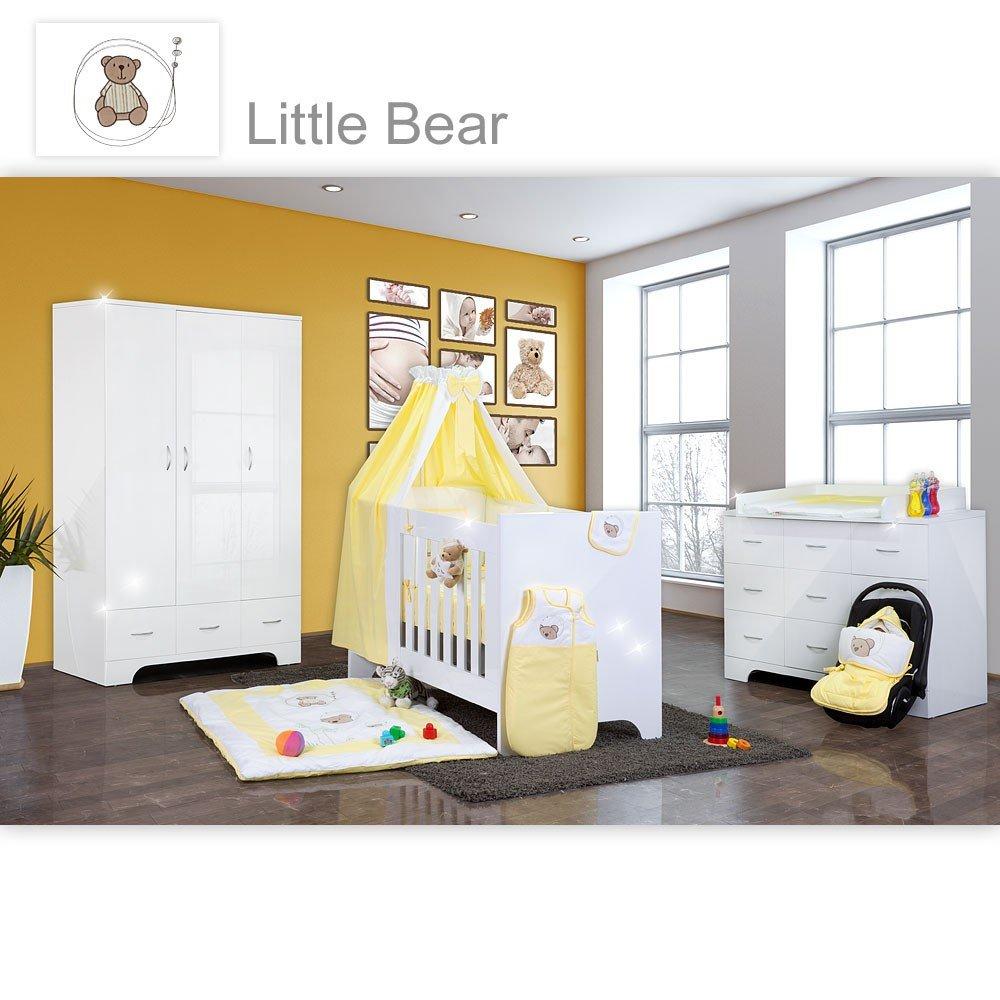 Hochglanz Babyzimmer Memi 21-tlg. mit Textilien von Little Bear in Gelb