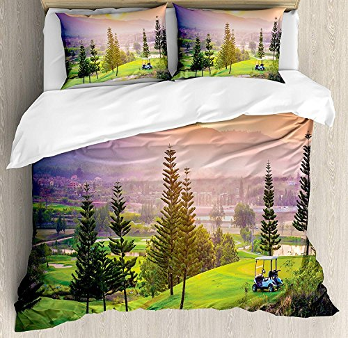Hill Cotton Curtain (4 Piece Bedding Set Queen Size, NatureGolf Resort Park in Spring Season with Trees Sunset Hills and Valley End of the Day,Duvet Cover Set Quilt Bedspread for Childrens/Kids/Teens/Adults)