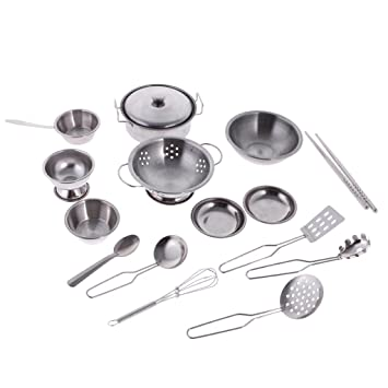 Buy Homyl Stainless Steel Kids Pretend Play Kitchen Cooking Cookware Toy Set 16 Pieces Online At Low Prices In India Amazon In