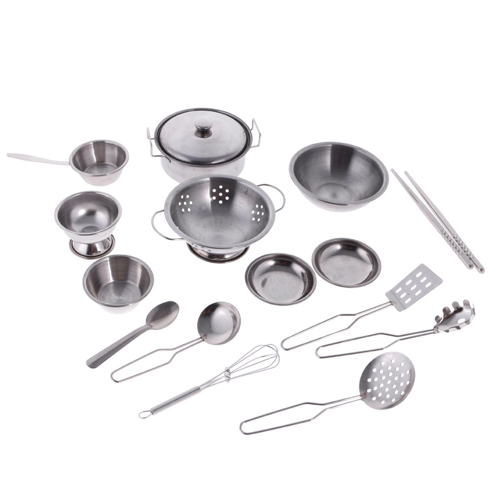 MonkeyJack Kitchen Play Cookware Set for Kids 16Pcs Play Kitchen Cooking Set Pots and Pans Mini Stainless Steel Simulation Play House Toys