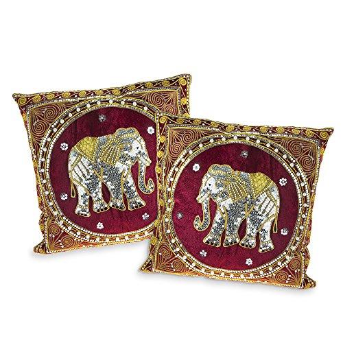 Thai Elephant Embroidered Velvet Throw Pillow Cases set of 2 Red by AeraVida