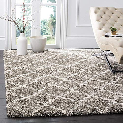 Safavieh Hudson Shag Collection SGH282B Grey and Ivory Moroccan Geometric Quatrefoil Square Area Rug (8' Square) (Square Rug 8 Ivory)
