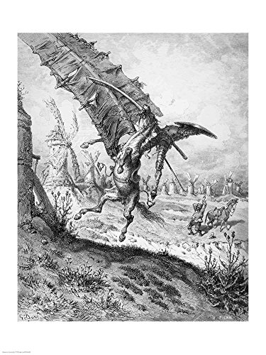 Don Quixote and The Windmills by Gustave Dore Art Print, 23 x 30 inches