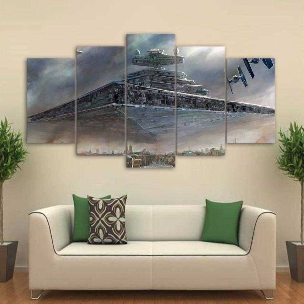 55CM ANXWA Vlies Leinwandbild 5 TLG Leinwand Leinwand Gedruckt Bilder Wandkunst 5 St/ücke Star Movie War Film Malerei Imperial Battleship Star Destroyer Poster,Mit Rahmen,100