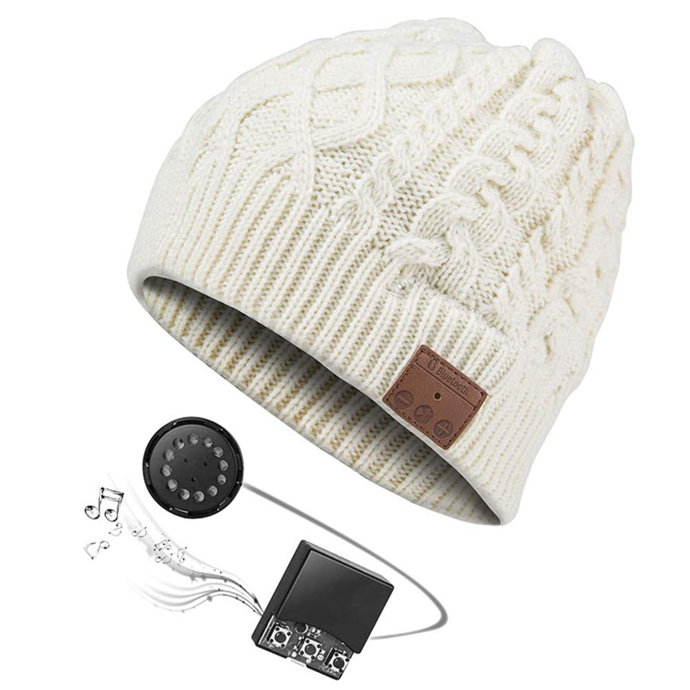 CHLJ Bluetooth Beanie Hat with Wireless Headphone Headset Speaker Mic, Outdoor Sports Ski Snowboard Jogging,Beige