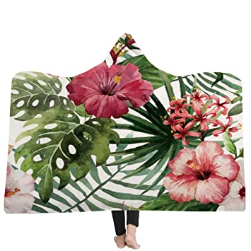 YJZ Manta para niños Huggable con Capucha para Adultos - Flor de Planta - La compañera de Juegos Hijo Batas de baño Capa Capa Baño,A,130 * 150cm: Amazon.es: ...