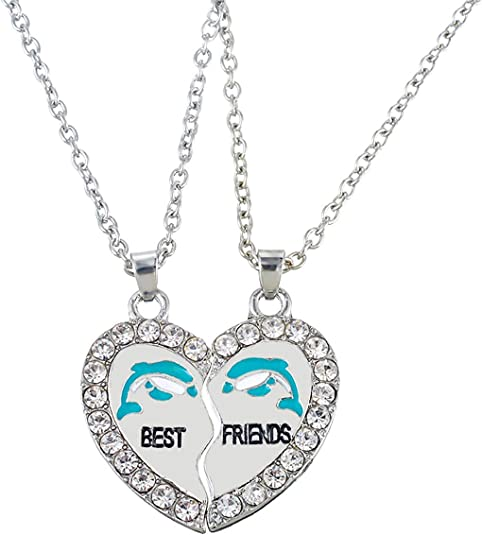 Best Friends Forever Bff Deux Pi/èces De Puzzle En Forme De Coeur Fendu Pendre Charms Et Perles Argent Bracelet Europ/éen