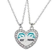 """HOUSWEETY 2 Pcs Collier d'Amitie Forever Pendentif Coeur Briser Couple Puzzle Pandas""""best friends"""" pour Femme"""