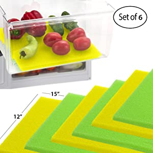 Dualplex Fruit & Veggie Life Extender Liner for Refrigerator Fridge Drawers 6 Pack Includes 3 Yellow 3 Green – Extends The Life of Your Produce Stays Fresh & Prevents Spoilage, 12 X 15 Inches