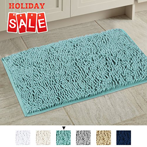 Non-Slip Bathroom Rug Shag Shower Mat Machine-Washable Plush Bath Mats with Water Absorbent Soft Microfibers, 20