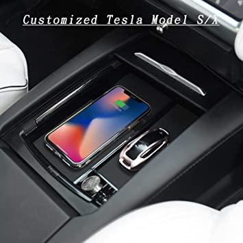 Armrest Box with Qi Wireless Charging Car Wireless Charger Center Console Armrest Storage Box Holder Container Glove Pallet Tray Compatible Model S Model X 2016 2017 2018
