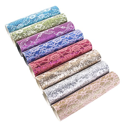 8 Pcs 8 x 13 (20cm x 34cm) Faux Leather Sheets Glitter Sequins Fabric with Lace Covered Thick Canvas Back Craft DIY Craft Assorted Colors(Lace Glitter)
