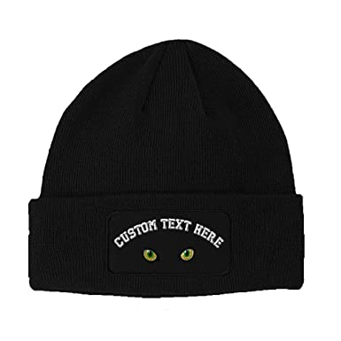 Custom Text Embroidered Animal Cat Eyes Unisex Adult Acrylic Double Layer  Patch Beanie Skully Hat - b5c703652830